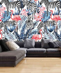 3D Wallpaper Animals Flamingos and Zebras